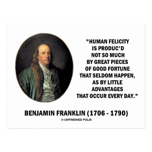 Benjamin Franklin Human Felicity Advantages Quote Postcard