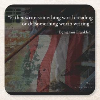 Benjamin Franklin Inspirational Quote Coaster