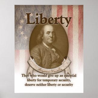 Benjamin Franklin - libertad Póster