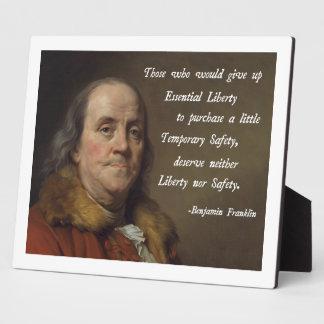 Benjamin Franklin Liberty Plaque