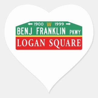 Benjamin Franklin/Logan, PA Street Sign Heart Sticker