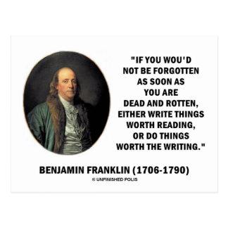 Benjamin Franklin no ser olvidado leyendo la escri Tarjetas Postales