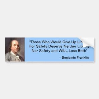 Benjamin Franklin Pegatina Para Auto