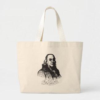 Benjamin Franklin Portrait and Signature Design Tote Bag