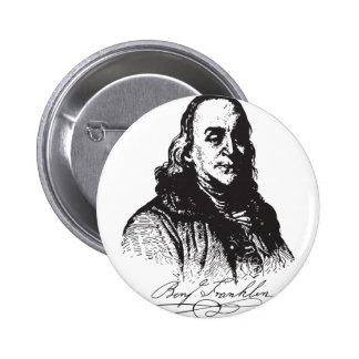 Benjamin Franklin Portrait and Signature Design Pinback Buttons