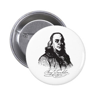 Benjamin Franklin Portrait and Signature Design Buttons