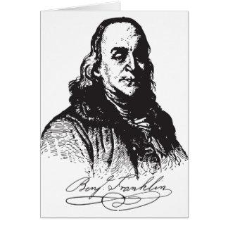 Benjamin Franklin Portrait and Signature Design Card