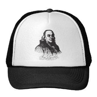 Benjamin Franklin Portrait and Signature Design Trucker Hat