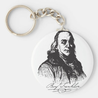 Benjamin Franklin Portrait and Signature Design Keychain
