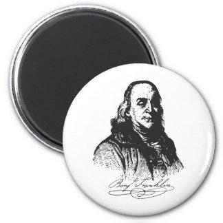 Benjamin Franklin Portrait and Signature Design Fridge Magnets