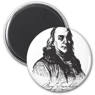 Benjamin Franklin Portrait and Signature Design 2 Inch Round Magnet