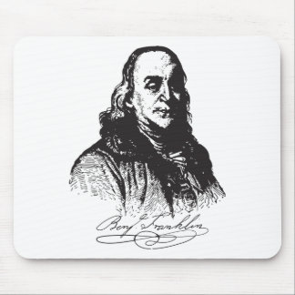 Benjamin Franklin Portrait and Signature Design Mousepads