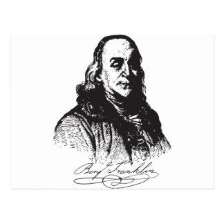 Benjamin Franklin Portrait and Signature Design Postcard