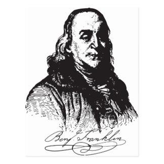 Benjamin Franklin Portrait and Signature Design Postcard