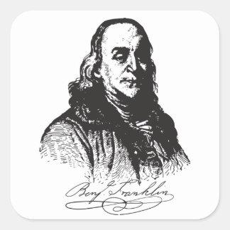 Benjamin Franklin Portrait and Signature Design Square Sticker