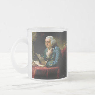 Benjamin Franklin Portrait by David Martin 1767 Frosted Glass Coffee Mug