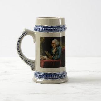 Benjamin Franklin Portrait by David Martin 1767 18 Oz Beer Stein