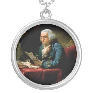 Benjamin Franklin Portrait by David Martin 1767 Round Pendant Necklace