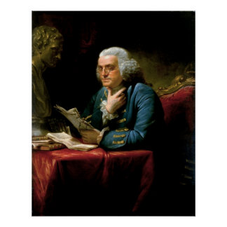 BENJAMIN FRANKLIN Portrait by David Martin Poster