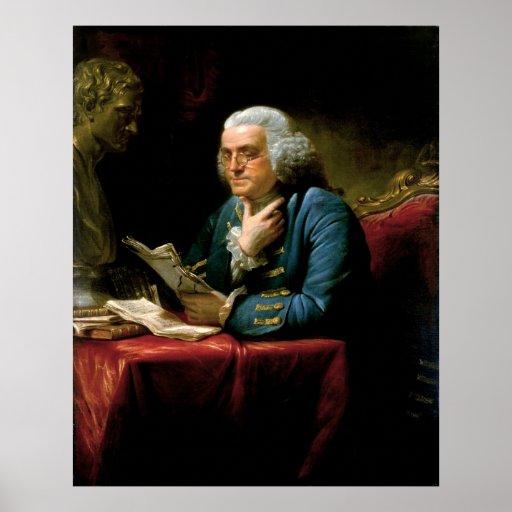 BENJAMIN FRANKLIN Portrait by David Martin Poster