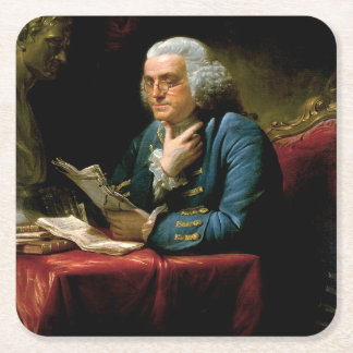 Benjamin Franklin Portrait Square Paper Coaster