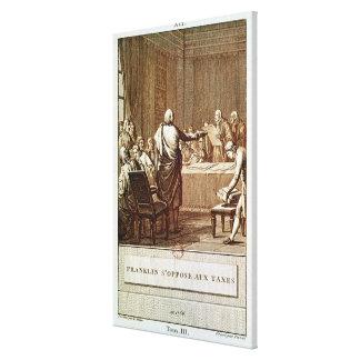 Benjamin Franklin Presenting his Opposition Canvas Print