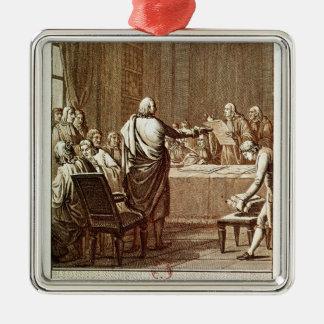 Benjamin Franklin Presenting his Opposition Metal Ornament