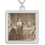 Benjamin Franklin Presenting his Opposition Square Pendant Necklace