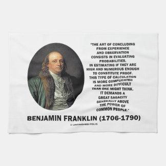 Benjamin Franklin que evalúa cita de las Toallas De Cocina