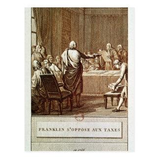 Benjamin Franklin que presenta su oposición Tarjeta Postal