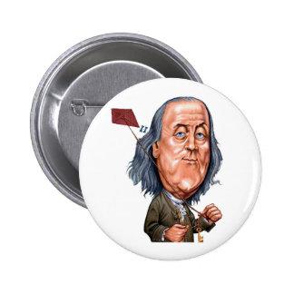 Benjamin Franklin que sostiene la cometa con llave Pin