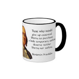 Benjamin Franklin Quote - Liberty and Safety Ringer Mug