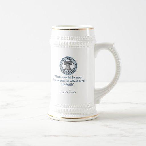 Benjamin Franklin Quote (Money) 18 Oz Beer Stein