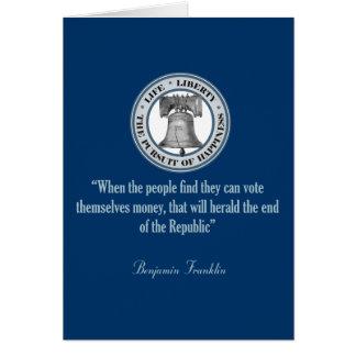 Benjamin Franklin Quote (Money) Card