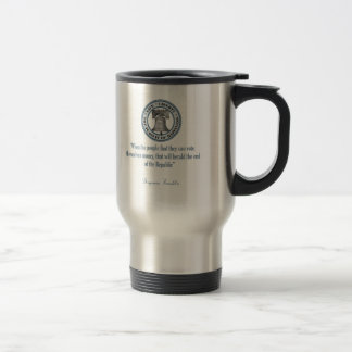 Benjamin Franklin Quote (Money) Travel Mug