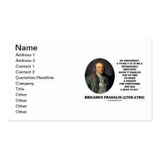 Benjamin Franklin Reasonable Creature Find Reason Business Card