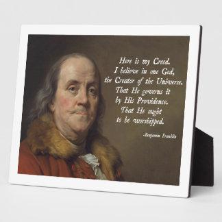 Benjamin Franklin Religion Photo Plaque