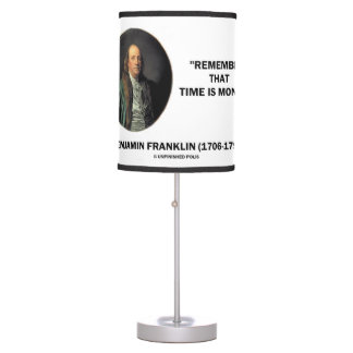 Benjamin Franklin Remember Time Is Money Quote Desk Lamp