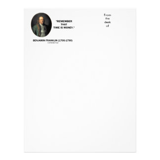 Benjamin Franklin Remember Time Is Money Quote Letterhead