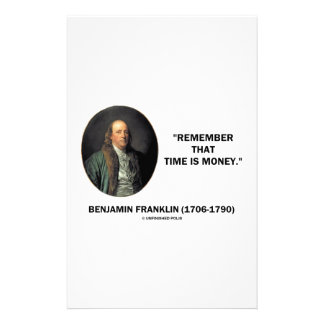 Benjamin Franklin Remember Time Is Money Quote Stationery