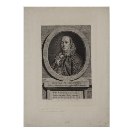 BENJAMIN FRANKLIN Sculpture by Chevillet Poster