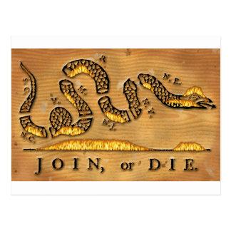 Benjamin Franklin se une a o muere dibujo animado Tarjeta Postal