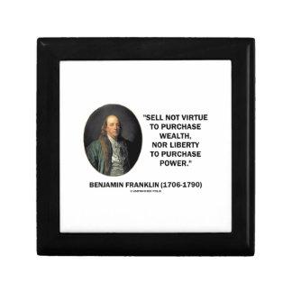 Benjamin Franklin Sell Not Virtue Nor Liberty Keepsake Boxes