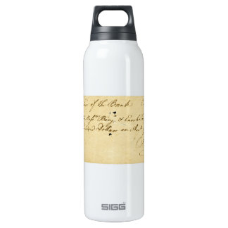 Benjamin Franklin Signed Check October 2, 1787 SIGG Thermo 0.5L Insulated Bottle