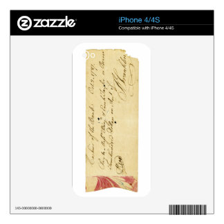 Benjamin Franklin Signed Check October 2, 1787 Skins For The iPhone 4S