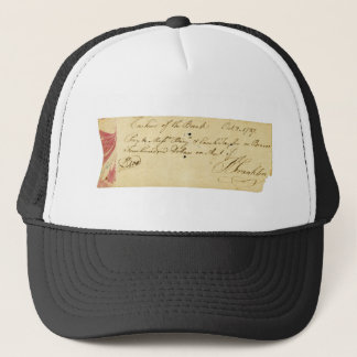 Benjamin Franklin Signed Check October 2, 1787 Trucker Hat