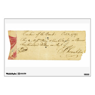 Benjamin Franklin Signed Check October 2, 1787 Wall Skin