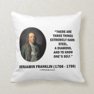 Benjamin Franklin Three Things Extremely Hard Throw Pillow