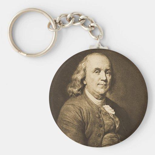 Benjamin Franklin - Vintage Magic Lantern Slide Key Chains