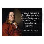 Benjamin Franklin - votando por dinero Felicitación